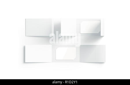 blank white z folded booklet mock up top view isolated 3d