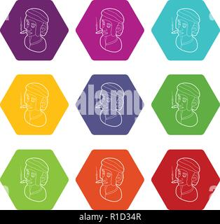Rastafarian man wearing headband and smoking icons set 9 vector - Stock Photo