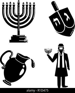 Hanukkah icon set, simple style - Stock Photo