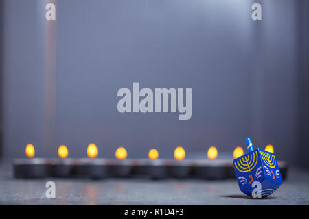 The Defocused lights of Jewish holiday Hanukkah. - Stock Photo