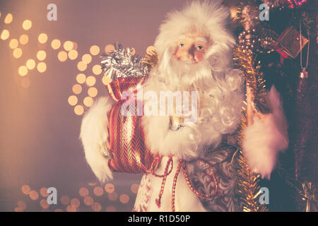Father Frost (Russian Ded Moroz) figurine on traditional 2019 New Year celebration - Stock Photo