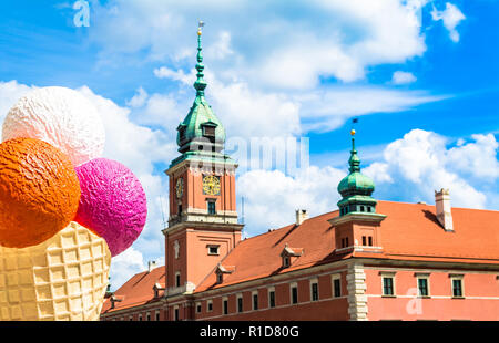 Royal castle in Warsaw - National Monument. Sunny summer day. Horizontal photo. - Stock Photo