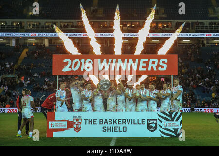 Leeds, UK. 11th Nov 2018. 11th November, Elland Road, Leeds, England ; Rugby League International  3rd Test Match , England v New Zealand ; England lift the Baskerville Shield   Credit:  Mark Cosgrove/News Images Credit: News Images /Alamy Live News - Stock Photo