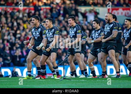Leeds, UK. 11th Nov 2018. 11th November, Elland Road, Leeds, England ; Rugby League International  3rd Test Match , England v New Zealand ;  The Haka  Credit:  Craig Milner/News Images Credit: News Images /Alamy Live News - Stock Photo