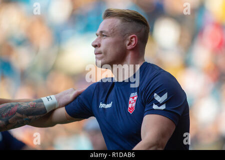 Leeds, UK. 11th Nov 2018. 11th November, Elland Road, Leeds, England ; Rugby League International  3rd Test Match , England v New Zealand ;  Jonny Lomax of England  in warmup  Credit:  Craig Milner/News Images Credit: News Images /Alamy Live News - Stock Photo
