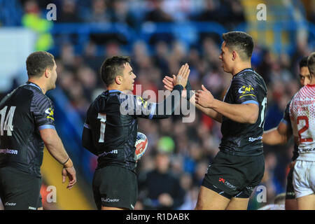 Leeds, UK. 11th Nov 2018. 11th November, Elland Road, Leeds, England ; Rugby League International  3rd Test Match , England v New Zealand ; ,Kodi Nikorima celebrates his try    Credit:  Mark Cosgrove/News Images Credit: News Images /Alamy Live News - Stock Photo