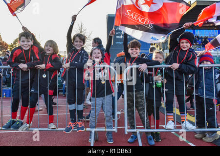 London, UK. 11th Nov 2018. The local school children were given free ticket to the game during Premiership Rugby Cup Round 3 match between Saracens and Worcester Warriors at Allianz Park on Sunday, 11 November 2018. LONDON ENGLAND.  (Editorial use only, license required for commercial use. No use in betting, games or a single club/league/player publications.) Credit: Taka Wu/Alamy Live News - Stock Photo