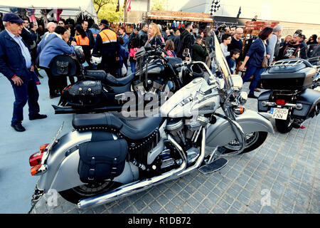 November 11, 2018 - L´Hospitalet, Barcelona, Spain - Motorcycle displays in L'Hospitalet where motorcycles of well-known brands like Harley-Davidson or Indian are displayed for people to view and admire. Credit: Ramon Costa/SOPA Images/ZUMA Wire/Alamy Live News - Stock Photo