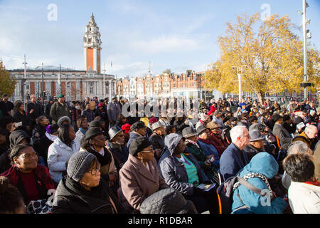 London UK 11th November 2018.  People at the Remembrance Armistice Day Parade at the African Caribbean War Memorial in Windrush Square, Brixton. Credit: Thabo Jaiyesimi/Alamy Live News - Stock Photo