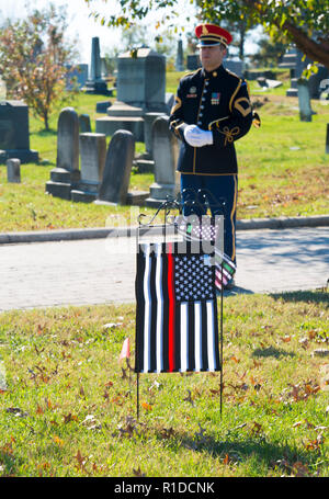 Washington, DC November 11 ,2018:  A bugler with the US Army Band, 'Pershing's Own' gets ready to play 'taps' while the US Gay and Straight Veterans and Active duty Service members attend a Veterans Day memorial observation at the tomb of Leonard Matlovich, a Gay soldier who fought the US Air Force which tried to remove his from service because he was gay. The tomb is located in the Congressional Cemetery in Washington DC.  Patsy Lynch/Alamy Credit: Patsy Lynch/Alamy Live News - Stock Photo