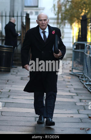 Sir Vince Cable in Downing Street on the way to the Remembrance Sunday ceremony at the Cenotaph in Whitehall. Today marks 100 years since the end of the First World War. Remembrance Sunday, London, on November 11, 2018. - Stock Photo