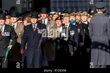 Whitehall, London, UK. 11th November 2018. The 11th hour of the 11th Day. Thousands gather at the Cenotaph to commemorate the 100th Centenary of the  ending of World War One . Veterans and serving military personal taking part in the march past were joined by 10,000 members of the public chosen by ballot to remember their own relatives who lost their lives during the conflict. Her majesty the Queen led those gathered in a 2 minute silence followed by the laying of wreaths by members of the Royal family and other dignitaries from the UK and across the World. Credit: Newspics UK South/Alamy Live - Stock Photo
