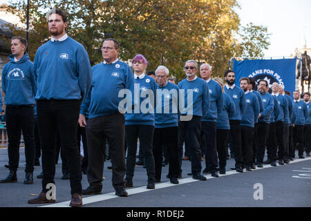 London, UK. 11th November, 2018. Ex-services personnel from Veterans For Peace UK (VFP UK) attend the Remembrance Sunday ceremony at the Cenotaph in London on the centenary of the signing of the Armistice which marked the end of the First World War. VFP UK was founded in 2011 and works to influence the foreign and defence policy of the UK for the larger purpose of world peace. - Stock Photo