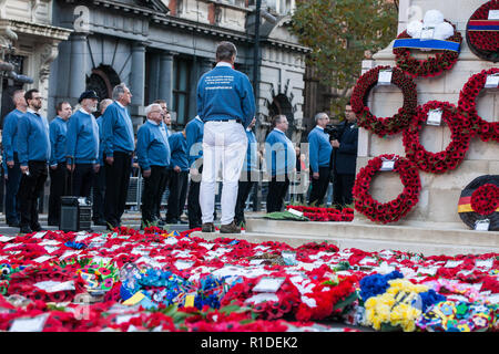 London, UK. 11th November, 2018. German Army veteran Florian Pfaff lays a Never Again wreath at the Cenotaph on behalf of Veterans For Peace UK (VFP UK) during the Remembrance Sunday ceremony on the centenary of the signing of the Armistice which marked the end of the First World War. VFP UK was founded in 2011 and works to influence the foreign and defence policy of the UK for the larger purpose of world peace. - Stock Photo