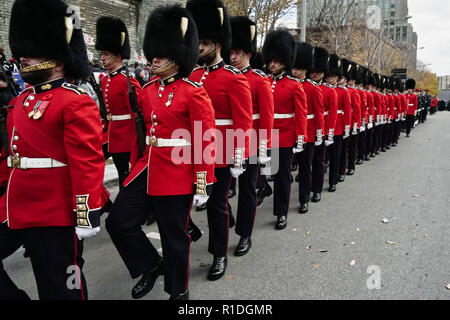 Montreal,Canada,11 November,2018.Canadian military personnel taking part in the Remembrance Day ceremonies.Credit:Mario Beauregard/Alamy Live News - Stock Photo