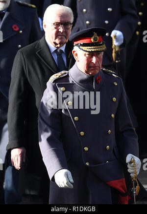 London, UK. 12th Nov, 2018. Britain's Prince Charles (front), Prince of Wales, attends the annual remembrance ceremony marking the 100th anniversary of the end of the First World War in London, Britain on Nov. 11, 2018. Queen Elizabeth II was joined on Sunday morning by thousands of former and current soldiers, leading politicians and diplomats in marking the 100th anniversary of the end of the First World War at the annual Remembrance Day parade in central London. Credit: Xinhua/Alamy Live News - Stock Photo