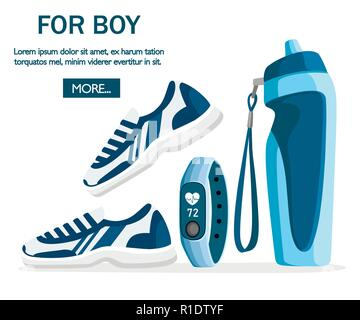 Set of sports accessories and clothes. Blue color collection. Icons for classes in the gym. Vector illustration on white background. Place for text. - Stock Photo