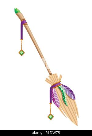 Magic flying broom. Object for a party for Halloween. Wooden broom with green gemstone and colorful feather. Flat vector illustration isolated on whit - Stock Photo