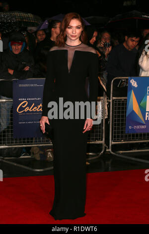 62nd BFI London Film Festival - 'Colette' - Premiere  Featuring: Eleanor Tomlinson Where: London, United Kingdom When: 11 Oct 2018 Credit: Mario Mitsis/WENN.com - Stock Photo