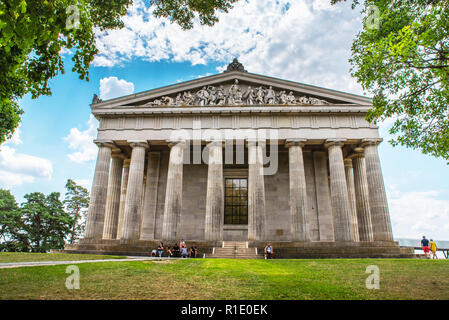 Donaustauf, Bavaria, Germany - 27 July, 2018: Tourists on tour near Hall of fame - Walhalla memorial - Stock Photo