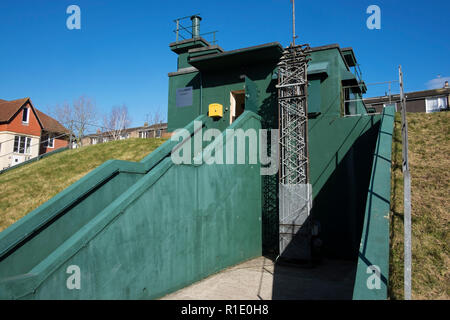 Cold War Bunker, located in Minument Close, York, North Yorkshire. Nuclear bunker that was in service from 1960s to 1990s, run by English Heritage, an - Stock Photo