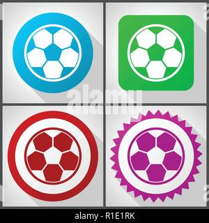 Vector icons with 4 options. Soccer flat design icon set easy to edit in eps 10. - Stock Photo