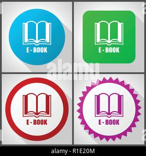 Vector icons with 4 options. Book flat design icon set easy to edit in eps 10. - Stock Photo