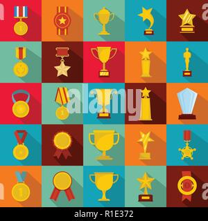 Medal award icon set. Flat illustration of 25 medal award vector icons for web - Stock Photo