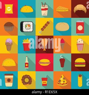 Fast food icons set. Flat illustration of 25 fast food vector icons for web - Stock Photo