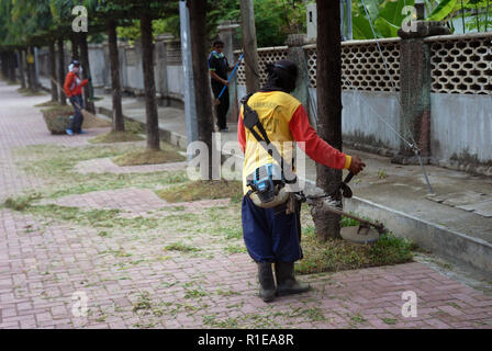 Workers cutting the grass with a whipper snipper, Dumagette, Philippines. - Stock Photo