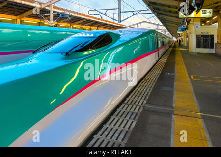 Sendai, Japan - April 21 2018: The Hayabusa is a high-speed Shinkansen service operated by JR East Company use 10-car E5 series sets, which initially  - Stock Photo