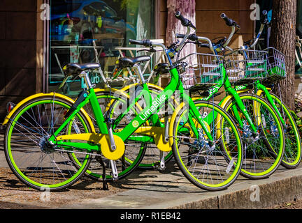 A row of LimeBikes, a bike-sharing service, is parked against a shop on Dauphin Street, Nov. 3, 2018, in Mobile, Alabama. - Stock Photo