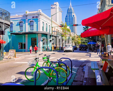 LimeBikes, a bike-sharing service, are parked in a row on Dauphin Street, Nov. 3, 2018, in Mobile, Alabama. - Stock Photo