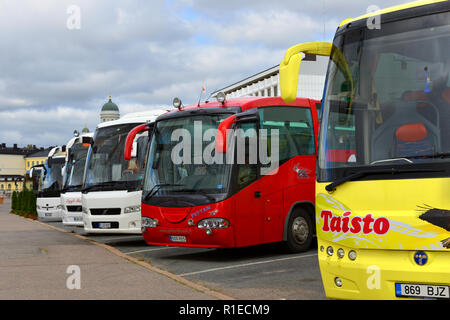 Large Tourist buses in South Harbour - Stock Photo