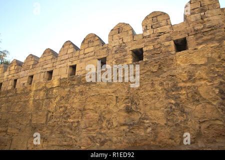 Azerbaijan . Gate of the old fortress, entrance to Baku old town. Baku, Azerbaijan. Walls of the Old City in Baku . Icheri Sheher is a UNESCO World He - Stock Photo