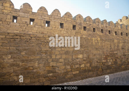 Azerbaijan . Gate of the old fortress, entrance to Baku old town. Baku, Azerbaijan. Walls of the Old City in Baku . Icheri Sheher is a UNESCO World He - Stock Photo