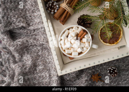 Hot chocolate with marshmallow cinnamon sticks, anise, nuts on wooden tray, Christmas concept. - Stock Photo