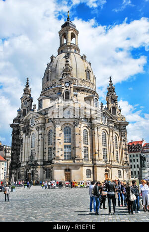 Dresden, Germany. May 13, 2014: Frauenkirche - Church of Our Lady - the church in Dresden on ? sunny day, one of the most significant Lutheran churche - Stock Photo