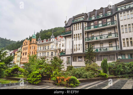 Karlovy Vary, Czech Republic. August 18, 2015: Street in Karlovy Vary in the summer. The resort city in western Bohemia in the area of the confluence  - Stock Photo