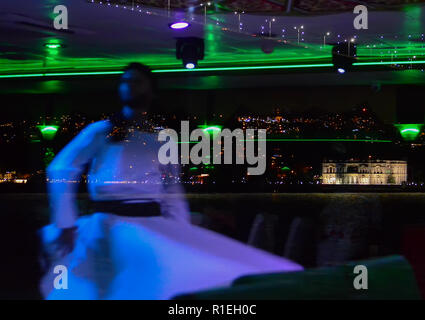 Blurred Reflection in the glass of Whirling Dervish on the background of night Istanbul. - Stock Photo