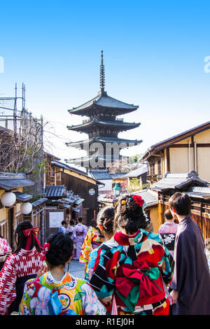 Yasaka pagoda is a five-story pagoda. This is the last remnant of Hokanji Temple on a traditional street in old village, Kyoto, Japan. - Stock Photo