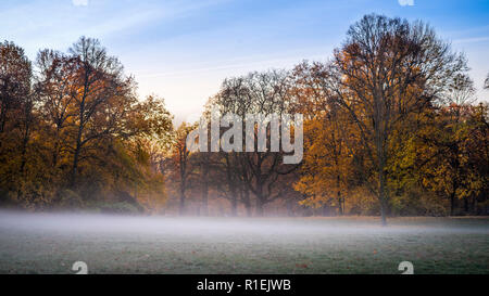Autumn morning in Clara Zetkin Park Leipzig | Herbstmorgen im Clara-Zetkin-Park Leipzig, Germany - Stock Photo