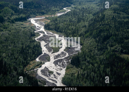 Aerial view of the braided Kennicott River near McCarthy Alaska - Stock Photo