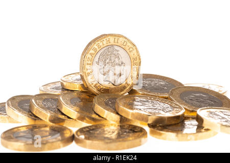 UK British Pound coins on white background - Stock Photo
