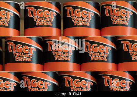 August 8 2018 - McCarthy, Alaska: Old brand of Tiger Toliet Tissue paper stacked nicely and organized in the Kennecott Mine abandoned general grocery  - Stock Photo