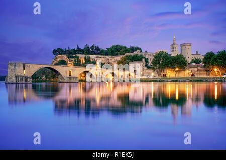 Saint-Benezet bridge, Popes palace, Palais des Papes, UNESCO,  Rhone, Avignon, Provence, France - Stock Photo