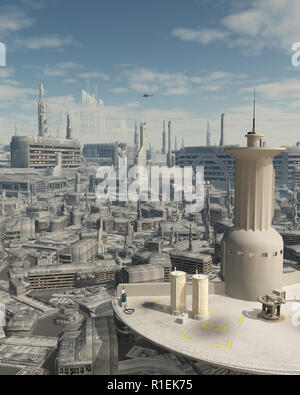 Control Tower at a Future City Spaceport - Stock Photo