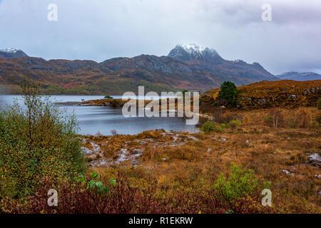 Slioch and Loch Maree, Wester Ross, Scotland, United Kingdom - Stock Photo