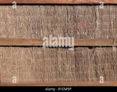 Thatched wall with natural hay or dried grass plant. Background, backdrop, texture, surface, detail, design, construction material, abstract, pattern, - Stock Photo