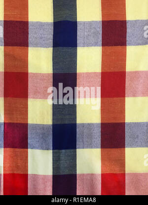 colorful traditional Thai cultural handmade fabric: loincloth (Commer band, Kamar band), checker plaid or bathing cloth. Backdrop, background, pattern - Stock Photo